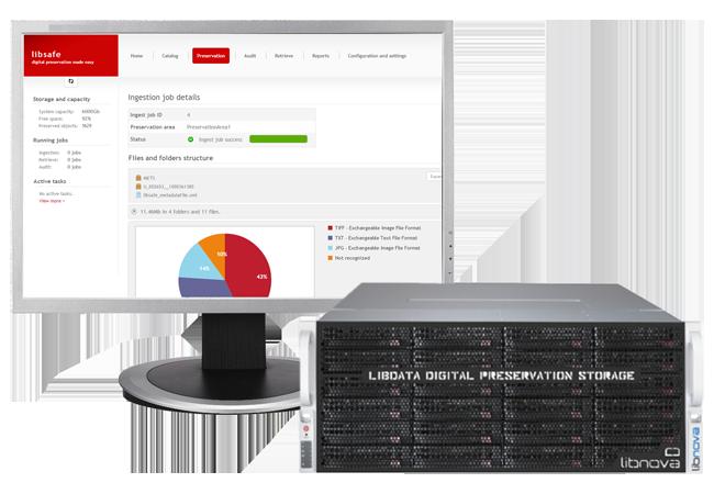 Imagen de la plataforma de preservación digital libsafe (software) y libdata (cabina de almacenamiento)